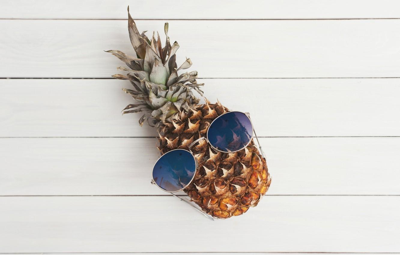 Photo wallpaper creative, background, mood, humor, glasses, fruit, pineapple