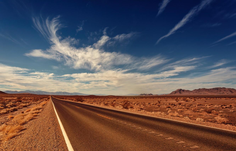 Photo wallpaper Clouds, Road, Mountains, Horizon, Desert, Asphalt, The way, Clouds, Horizon, Landscape, Mountains, Road, Highway, Desert, …