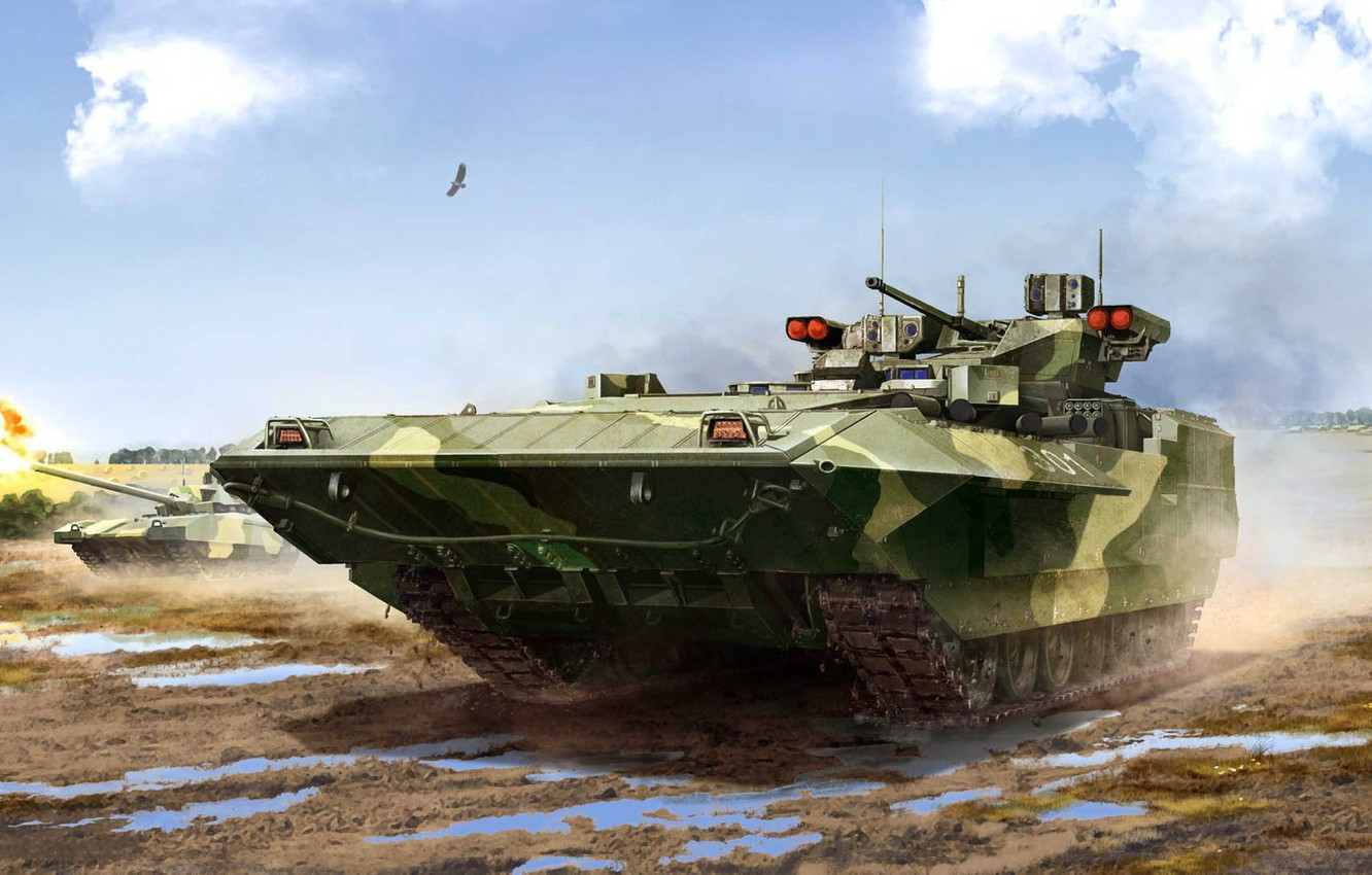 Photo wallpaper the armed forces of Russia, infantry fighting vehicle, armored combat vehicle, BMP, T-15, promising Russian, …