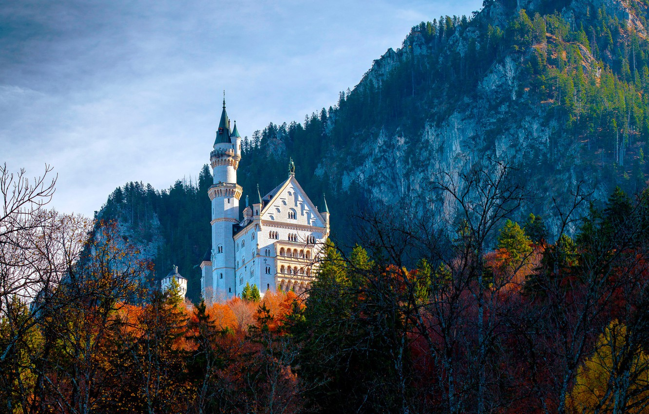 Photo wallpaper autumn, forest, trees, mountains, castle, rocks, Germany, Bayern, Germany, Bavaria, Neuschwanstein Castle, Neuschwanstein Castle, Schwangau, …