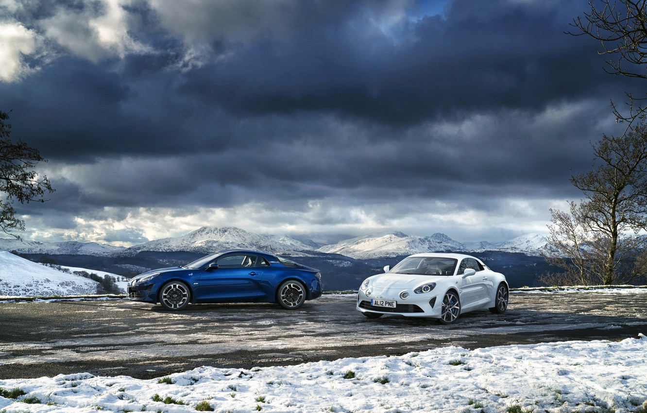 Photo wallpaper winter, auto, the sky, snow, mountains, Renault, Alpine, A110