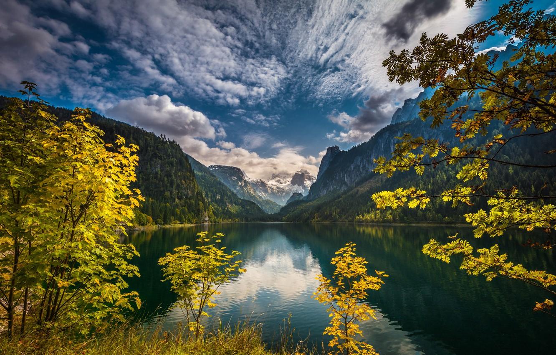 Photo wallpaper autumn, the sky, clouds, trees, mountains, branches, lake, Austria, Alps, Austria, Alps, Lake Gosau, Upper …