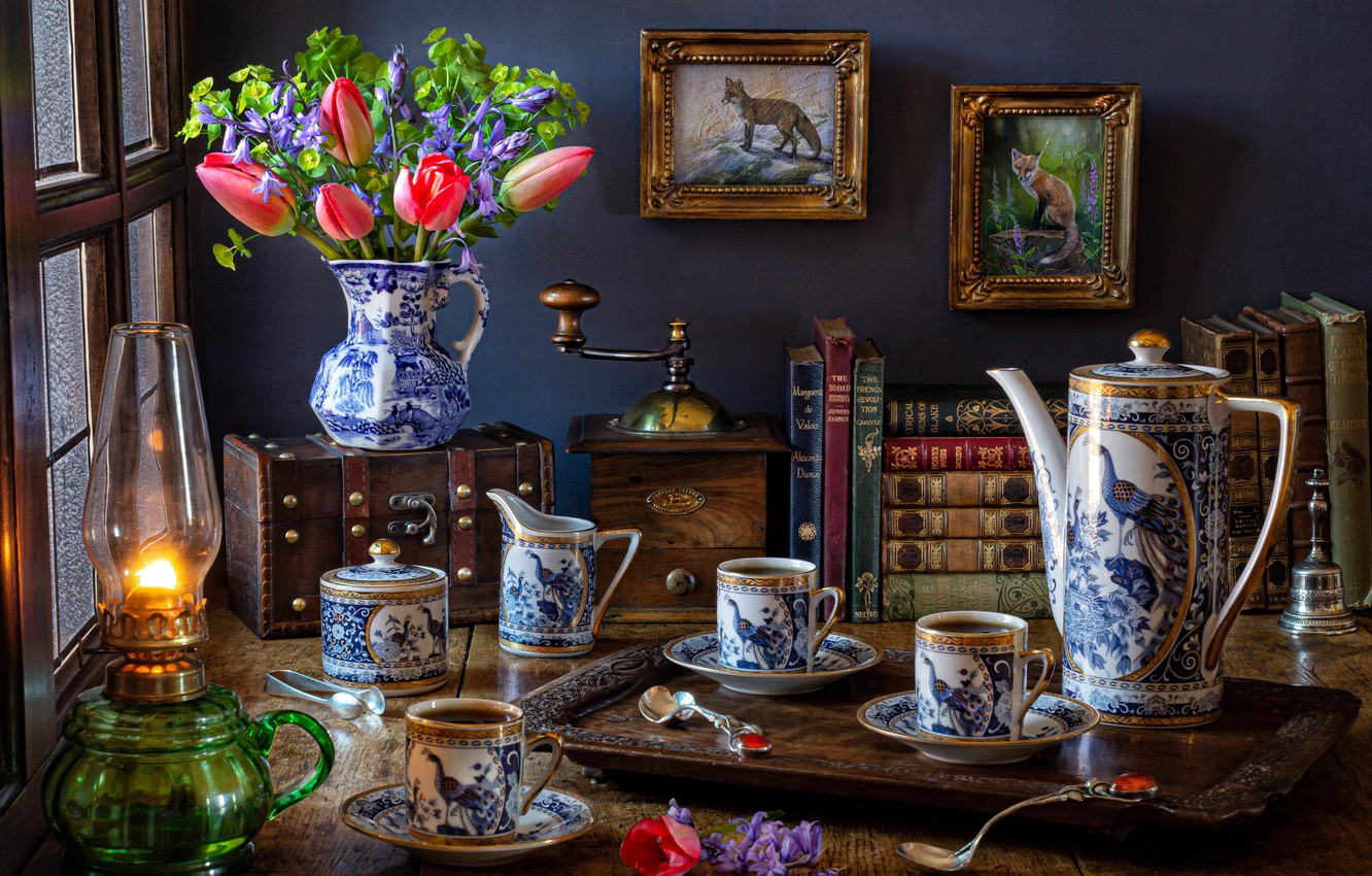 Photo wallpaper flowers, style, books, lamp, coffee, bouquet, Cup, tulips, pictures, still life, bells, set, chest, coffee …