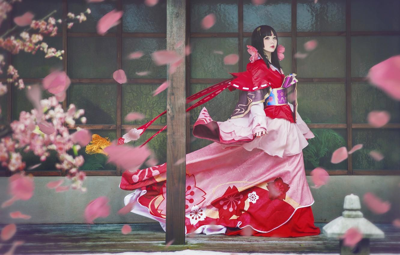 Photo wallpaper look, girl, flowers, red, pose, style, the wind, red, street, post, spring, makeup, petals, Sakura, …