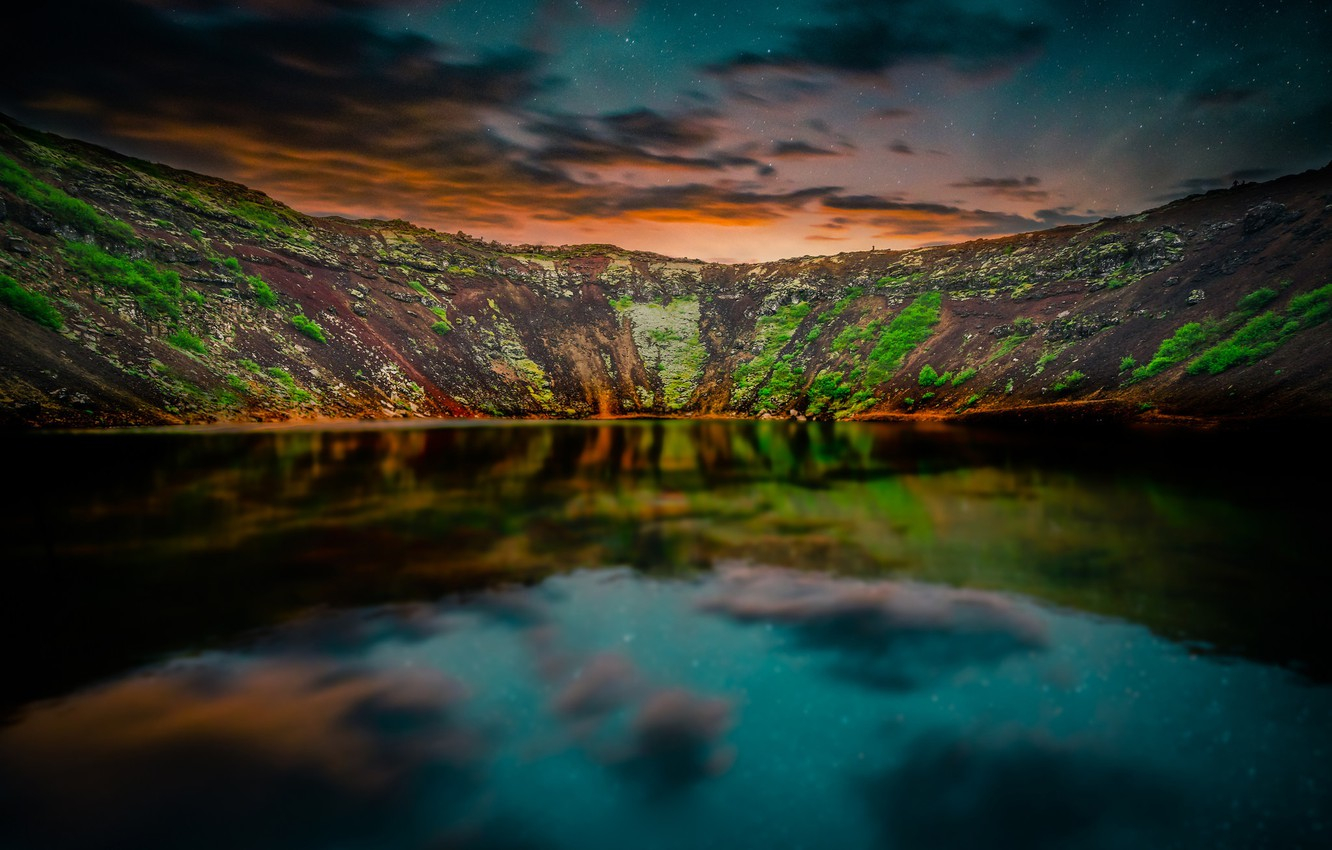 Photo wallpaper the sky, stars, mountains, reflection, the evening, twilight, Iceland, pond