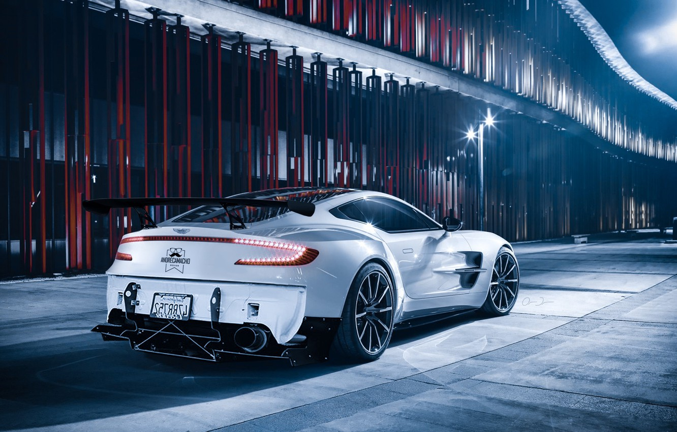 Wallpaper Night Construction Lantern Car Aston Martin One 77