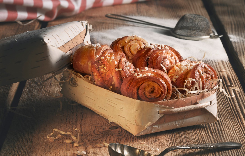 Photo wallpaper box, cakes, buns