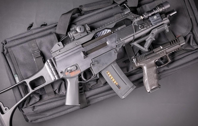 Photo wallpaper gun, Weapons, gun, pistol, weapon, Tactical, Heckler Koch, Tactical, HK g36, assault rifle, assault Rifle, …