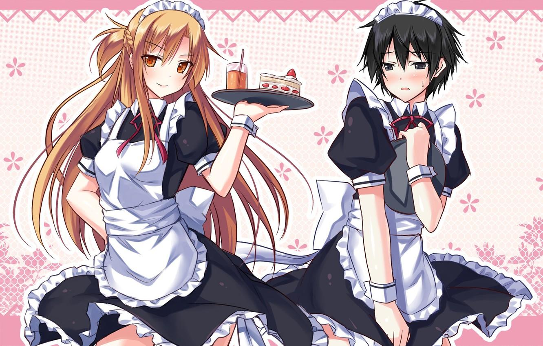 Photo wallpaper anime, art, Sword Art Online, sword art online, Asuna, Kirito, maids