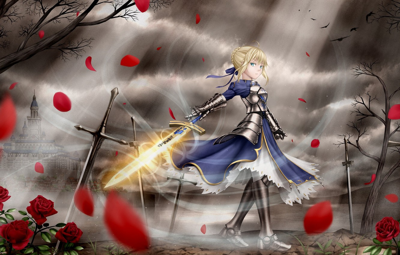Photo wallpaper girl, the city, petals, the saber, Fate stay night, Fate / Stay Night