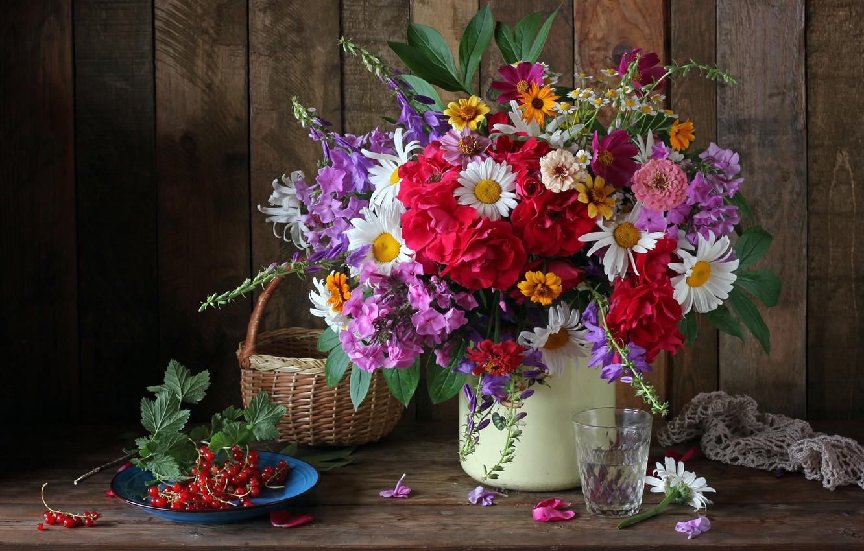 Photo wallpaper autumn, flowers, berries, bouquet, colorful, still life, currants, flowers, autumn, still life, bouquet