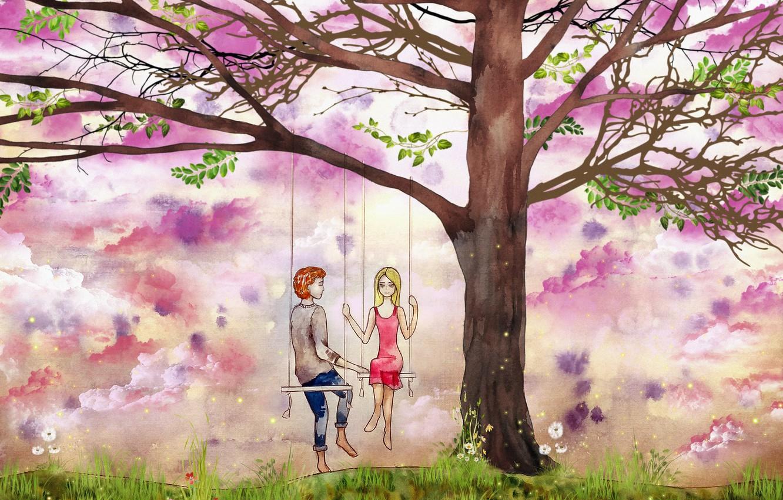 Photo wallpaper swing, tree, figure, pair