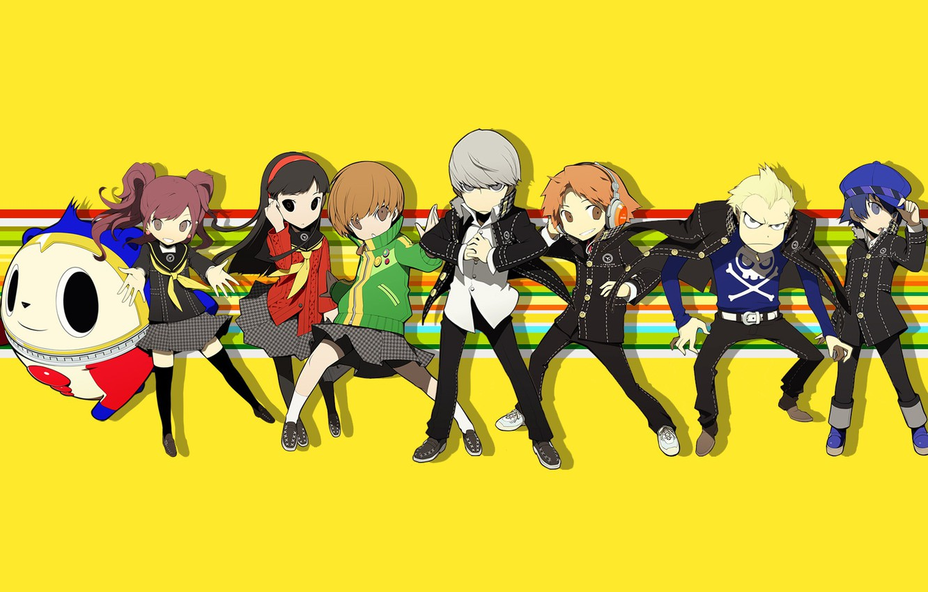 Photo wallpaper small, characters, yellow background, Persona, Person