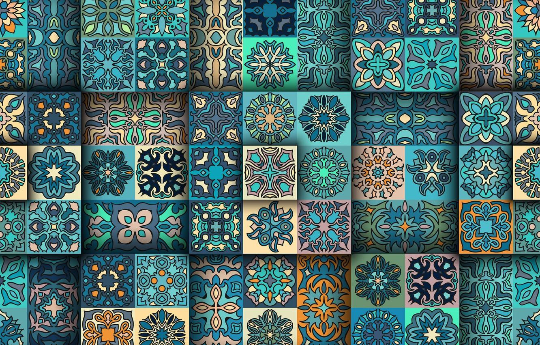 Photo wallpaper blue, background, pattern, texture, squares, ornament