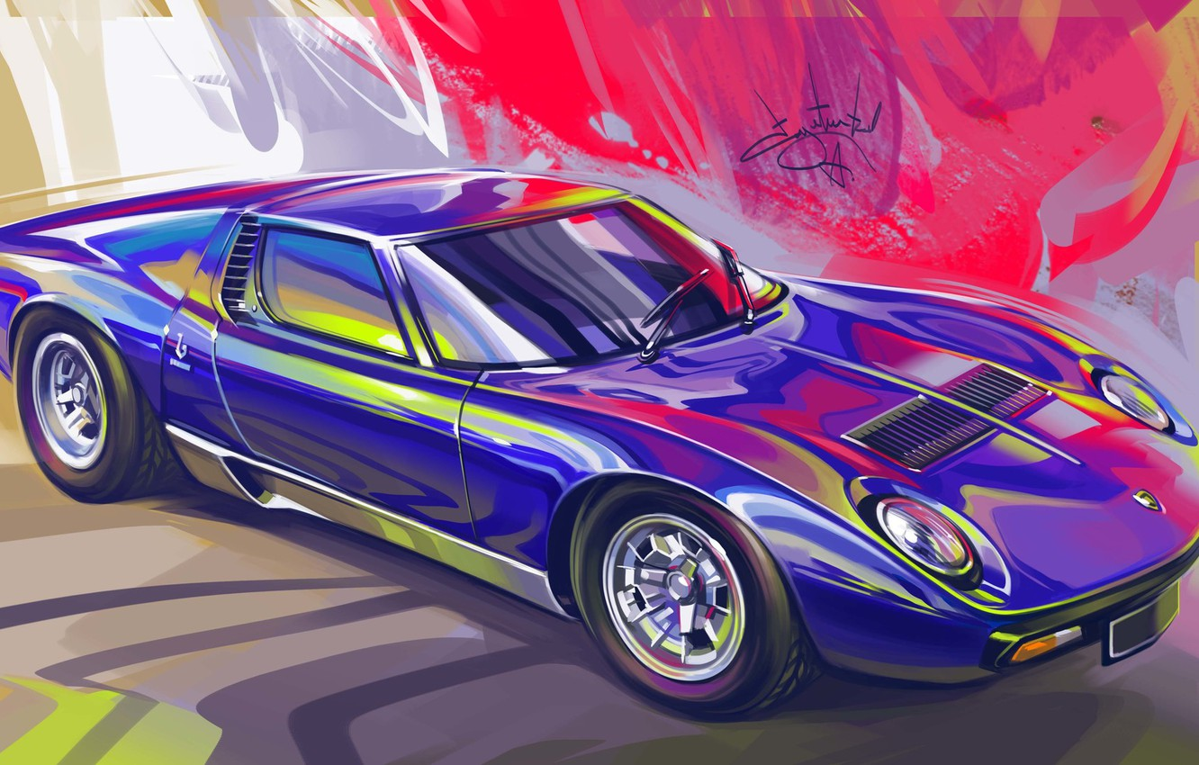Photo wallpaper Car, Retro, Supercar, Lamborghini Miura, Sketch, Alexander Sidelnikov