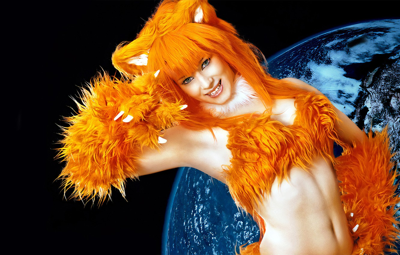 Photo wallpaper girl, earth, planet, Fox, claws, red, ears, red hair, browser, Mozilla Firefox, cosplay, cosplay, cosplayer …