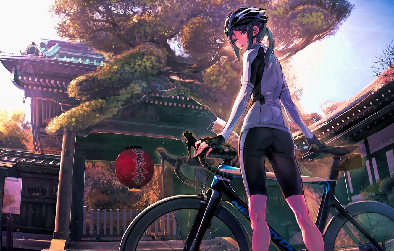 Photo wallpaper bike, street, Japan, lantern, temple, helmet, schoolgirl, sports wear, mitts, sideways, Minami Kamakura Koukou Joshi …