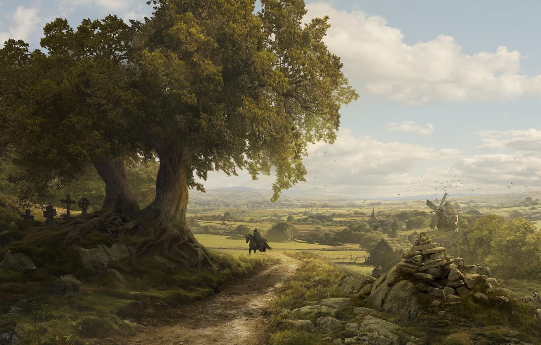 Photo wallpaper valley, mill, rider, Solomon Kane, France Landscape