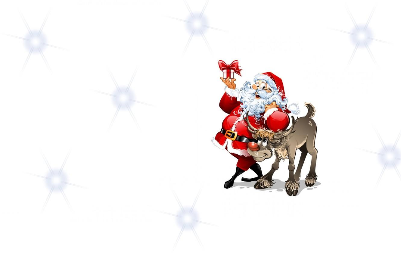 Photo wallpaper mood, holiday, gift, minimalism, deer, art, Santa, children's