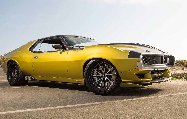 Photo wallpaper Muscle, Car, Yellow, AMC, AMC Javelin