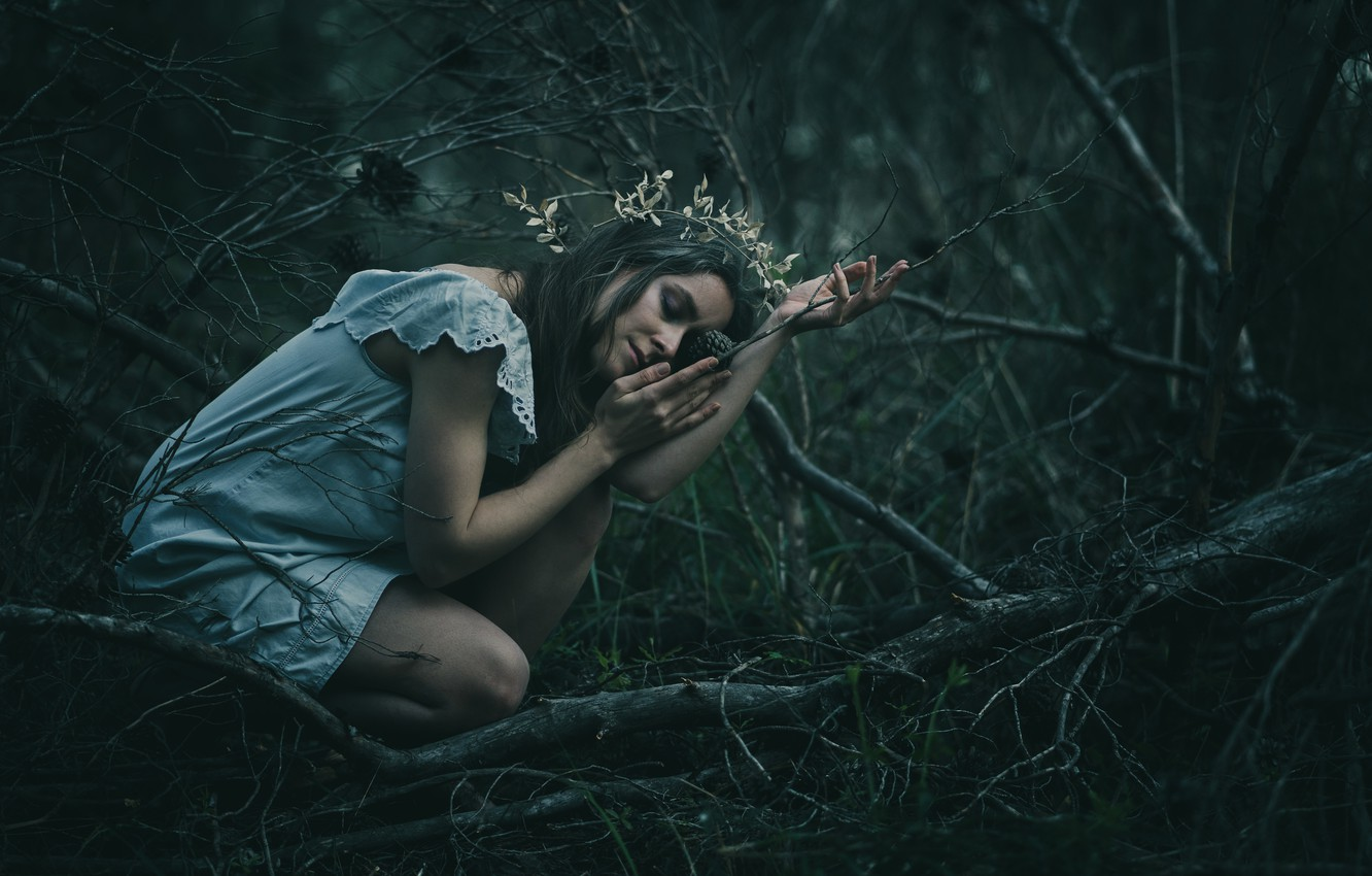 Photo wallpaper forest, girl, branches, pose, mood, the situation, hands, dress, closed eyes, Timea Patrick C's