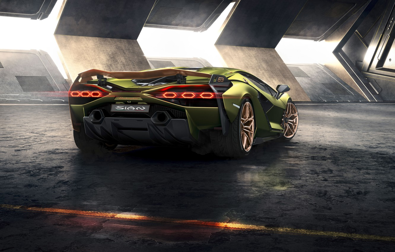 Photo wallpaper machine, Lamborghini, lights, supercar, drives, hybrid, Later