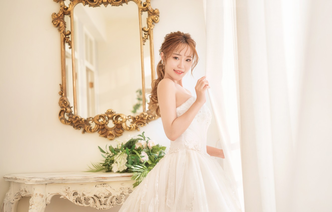 Photo wallpaper look, style, dress, Asian, the bride