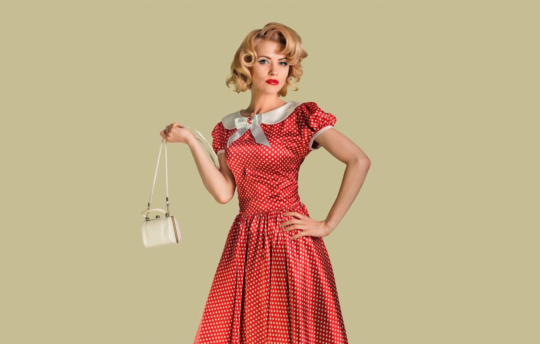 Photo wallpaper look, girl, pose, retro, background, model, portrait, makeup, hairstyle, blonde, handbag, red dress, polka dot