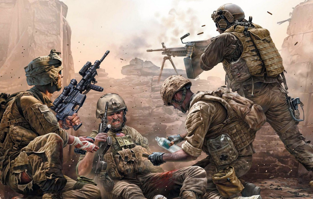 Wallpaper War Soldiers Shooting Wounded Modern Us