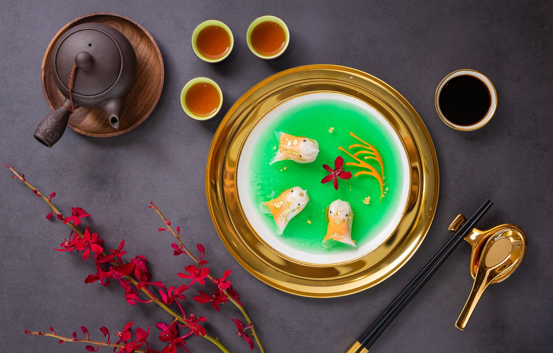 Photo wallpaper branches, tea, sticks, kettle, soup, Chinese cuisine