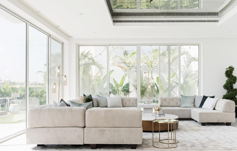 Photo wallpaper design, living room, lighting