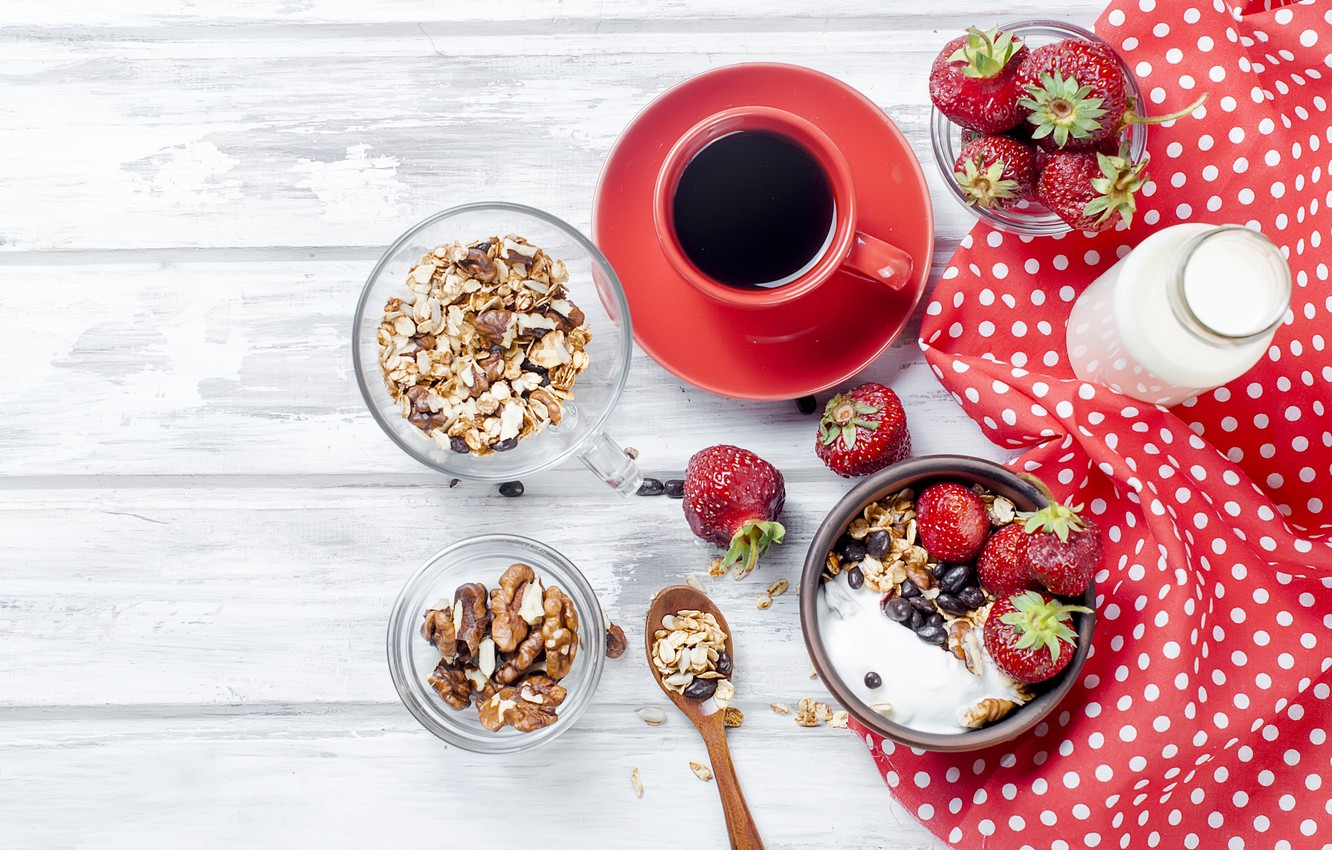 Wallpaper Berries Coffee Food Breakfast Milk Oatmeal