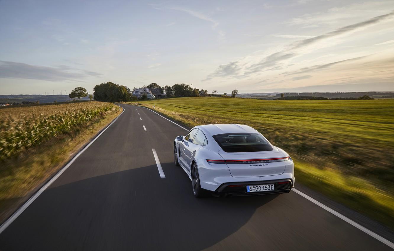 Photo wallpaper road, field, Porsche, Turbo S, 2020, Taycan
