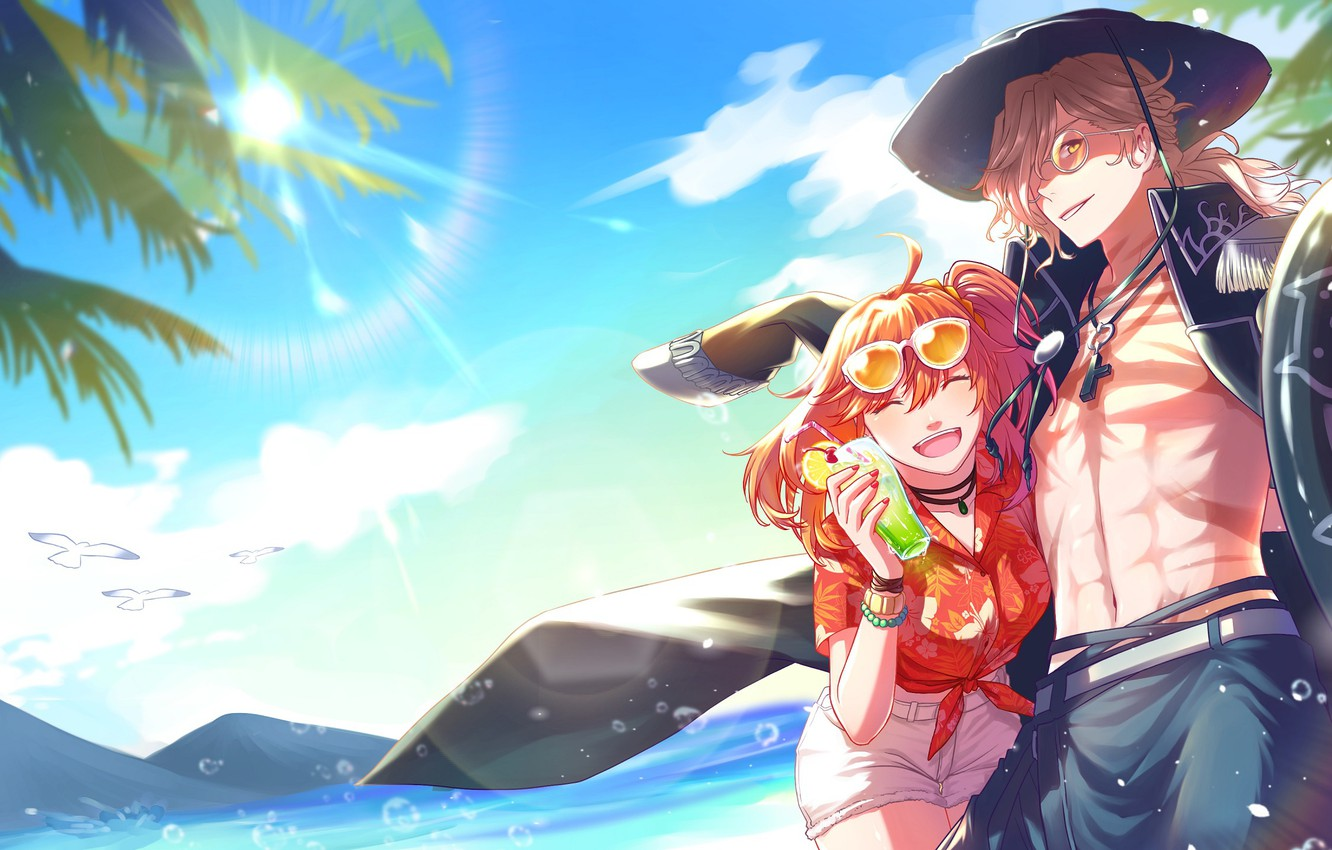 Photo wallpaper beach, summer, girl, guy, Fate / Grand Order, The destiny of a great campaign