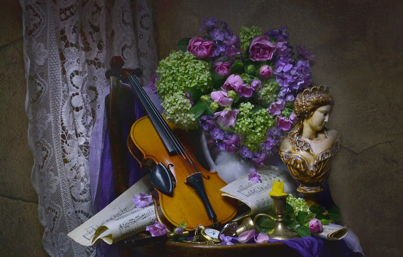 Photo wallpaper flowers, notes, woman, violin, candle, fabric, pitcher, still life, table, bust, hydrangea, Phlox, Valentina Fencing