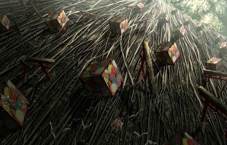 Photo wallpaper girl, Touhou, box, reimu hakurei