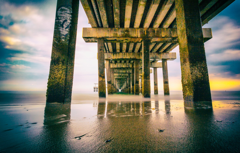 Photo wallpaper New York, Atlantic Ocean, Coney Island pier
