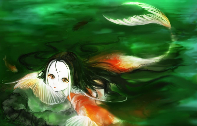 Photo wallpaper pond, mermaid, fantasy, carp