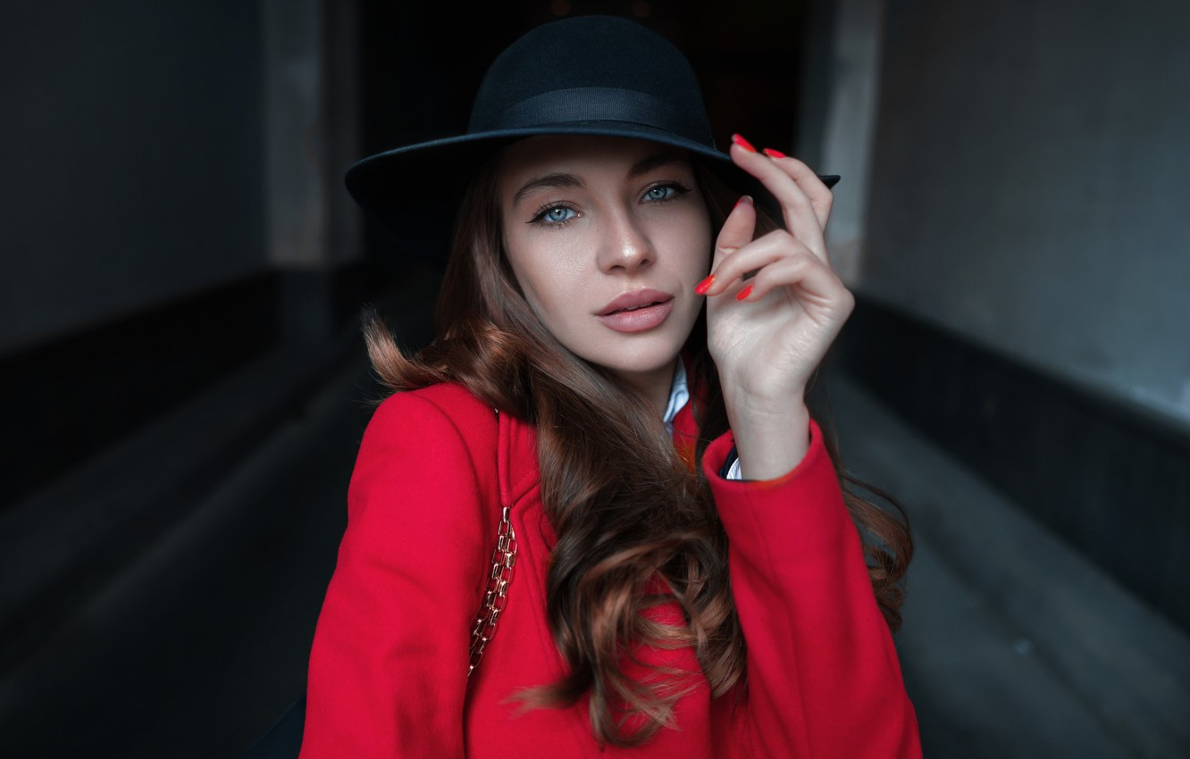 Photo wallpaper girl, Model, hat, photo, blue eyes, lips, coat, portrait, mouth, close up, looking at camera, …
