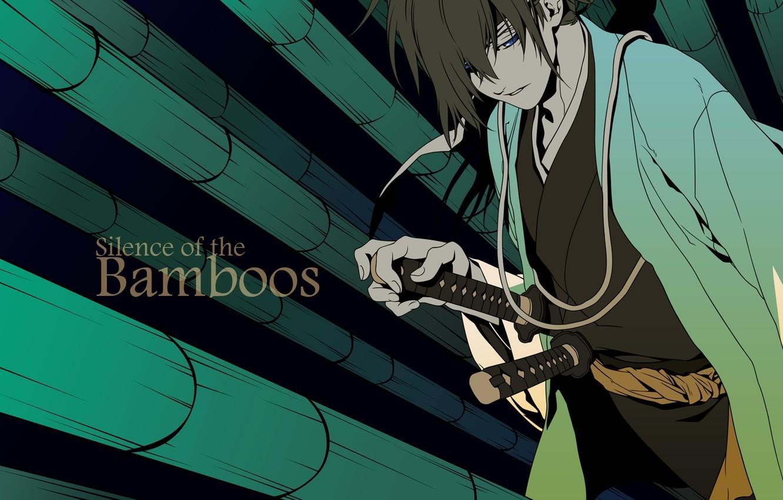 Photo wallpaper background, anime, samurai, guy, Hakuouki, Demon Sakura