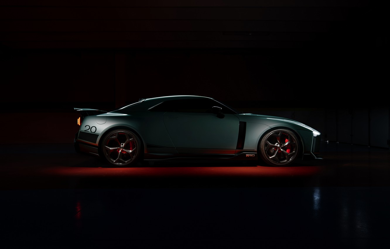 Photo wallpaper background, Nissan, GT-R, dark, R35, in profile, Nismo, ItalDesign, 2020, V6, GT-R50, 720 HP