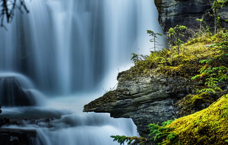 Photo wallpaper rock, waterfall, moss, stream, Canada, Albert, Alberta, Canada, Jasper National Park, Jasper national Park, the …