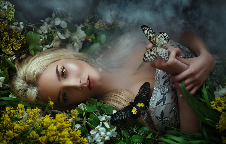 Photo wallpaper smoke, dress, Butterfly, lies, Maria Lipina, Katerina Shiryaeva