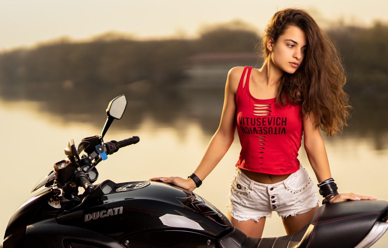 Wallpaper Girl Pose Hair Shorts Motorcycle Ducati Ilya