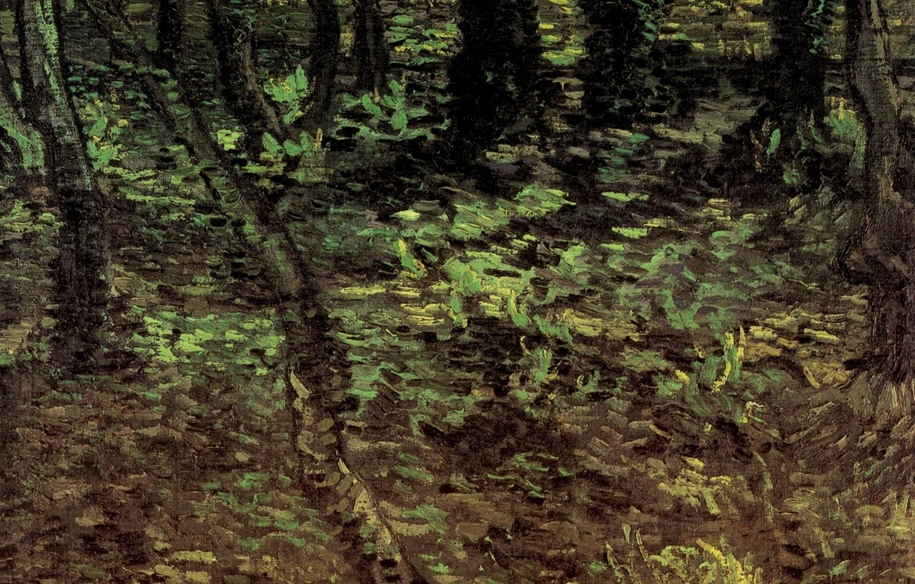 Photo wallpaper forest, trees, nature, foliage, Vincent van Gogh, Undergrowth with Ivy