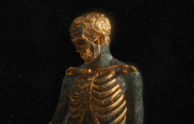 Photo wallpaper darkness, skull, teeth, bones, skeleton, gold, gold plated, human