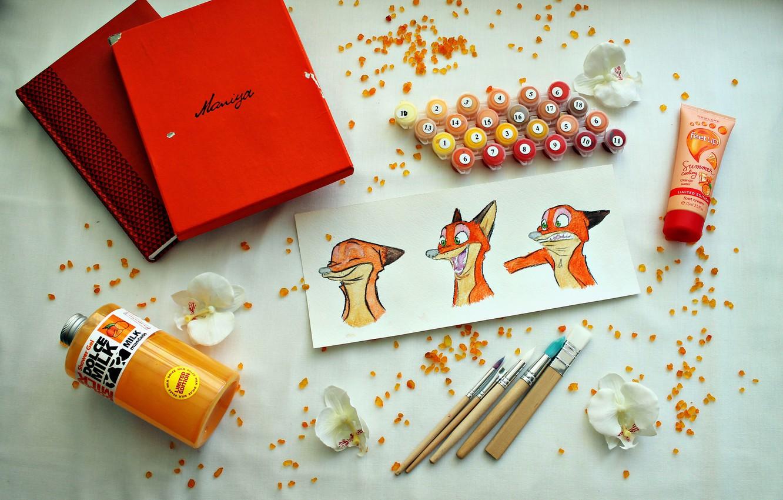 Photo wallpaper flower, flowers, box, paint, orange, Notepad, brush, Mandarin, zeropolis, acrylic paint, nick wild