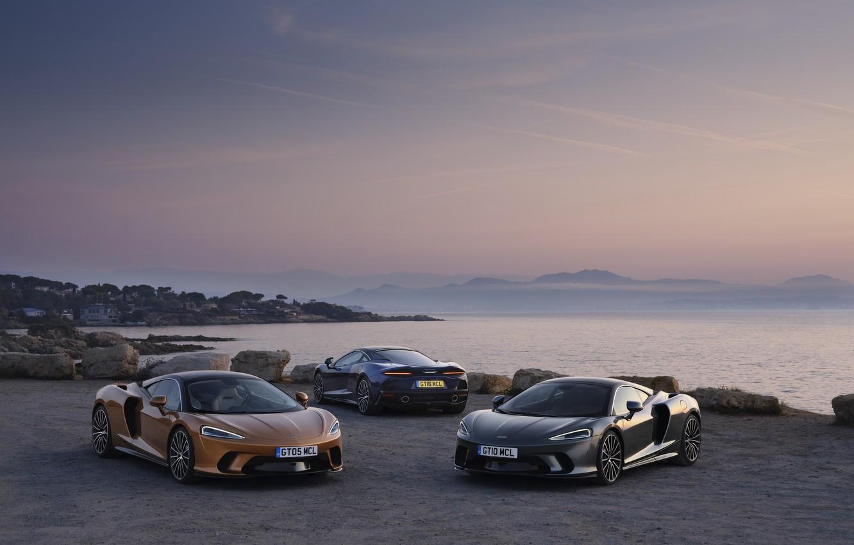 Photo wallpaper sunset, coast, McLaren, the evening, supercars, 2019, McLaren GT