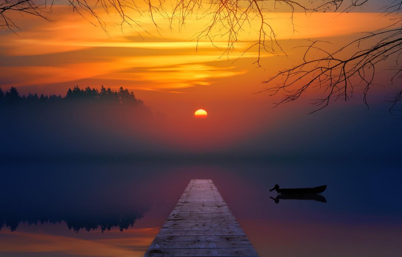 Photo wallpaper sunset, lake, boat, the bridge