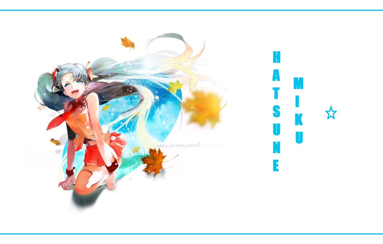 Photo wallpaper smile, tie, vocaloid, Hatsune Miku, blue hair, maple leaves, Hatsune Miku